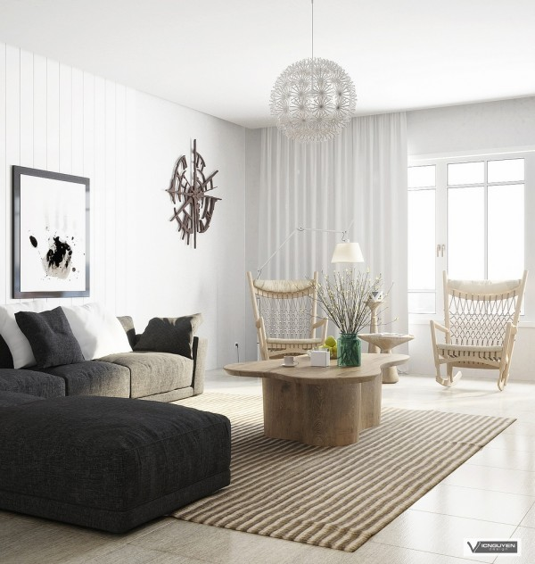 monochrome lounge with light wooden accents
