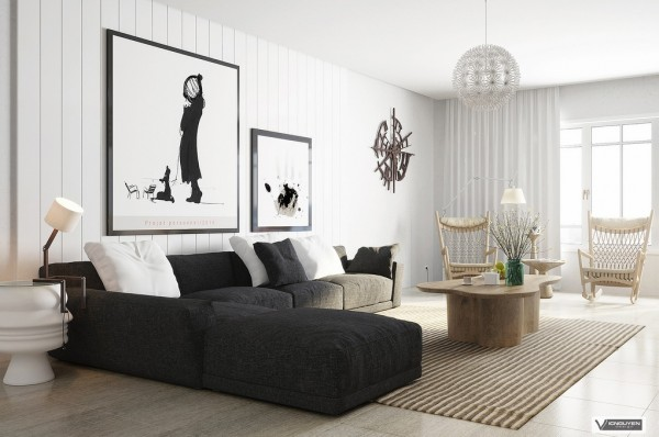 monochrome lounge with organic accents