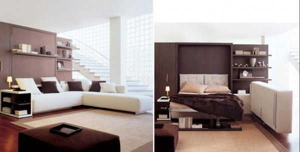 A modern living room holds a surprise; the sofa folds up, a bed folds out. Perfect for unexpected company.