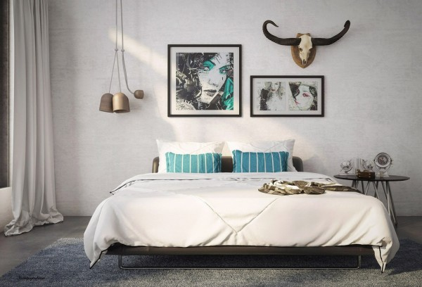 orgainic vibe bedroom with aqua marine accents