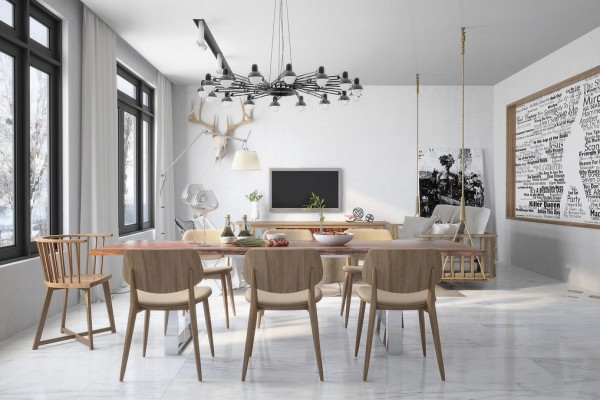orgainic vibe living dining with industrial accessories