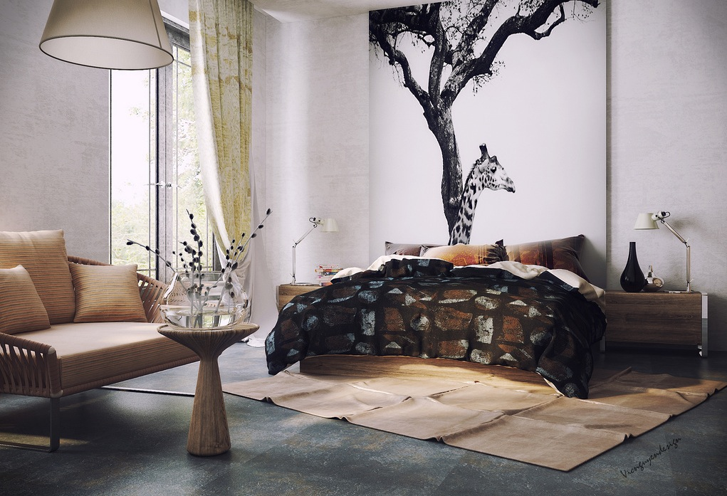 Organic vibe bedroom with feature wall for Feature wall bedroom designs