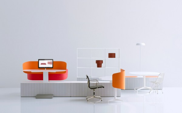 "Industrial Facility created the ""Locale"" dynamic work 'neighborhood' for Herman Miller. It encourages a free flow work environment enabling workers to shift between individual and collaborative, social work activities."