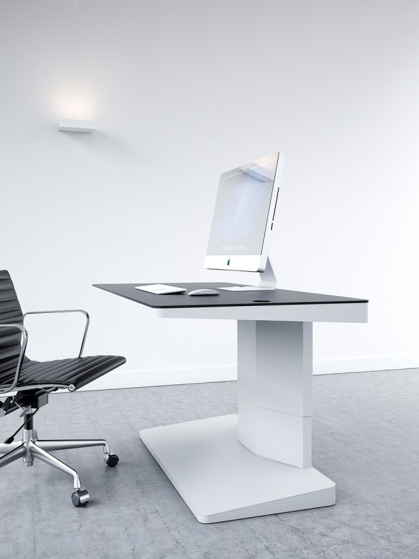 The 'Alpha' desk boasts a high-minded ergonomic design perfect for today's on-the-go work styles. With a fully adjustable height mechanism, between sitting and standing positions it offers the perfect solution for the modern office.