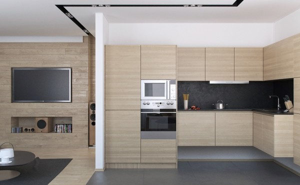 The minimalist kitchen is compact and streamlined with flat panel cabinetry sans hardware and a slate back splash.