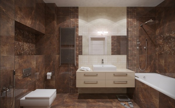 The master bathroom is filled with beautiful textural and color elements from the earthy-hued marble walls, floors and bath surround to the pearlescent tile vanity wall.