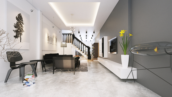 The living spaces floors appear almost as if they are covered in freshly fallen snow adding a frosty element to the space.