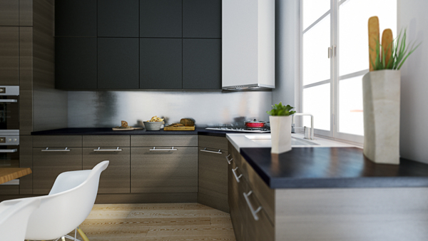 The eat-in kitchen offers a warm inviting environment to enjoy breakfast. The moody cabinetry and counter tops contrast nicely the room's white elements.