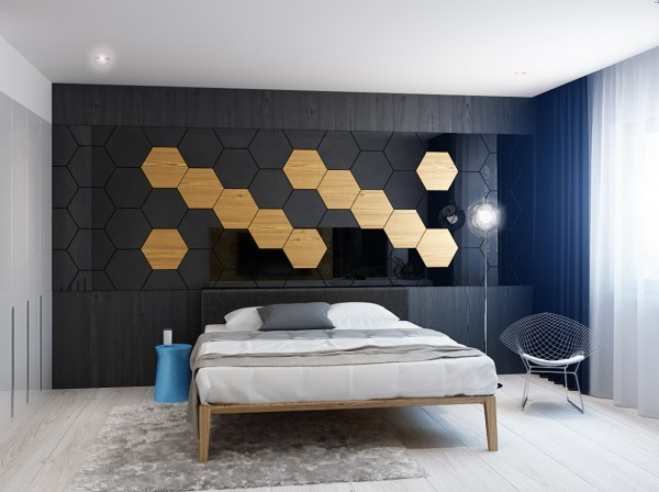 In the bedroom, mirrored surfaces and light wood in a honeycombed pattern continue this unique use of light wood. It's purely modern and to some, may feel even a little scientific (the pattern is reminiscent of DNA), but we love the bold statement it makes. Clearly, this is a room meant to impress.