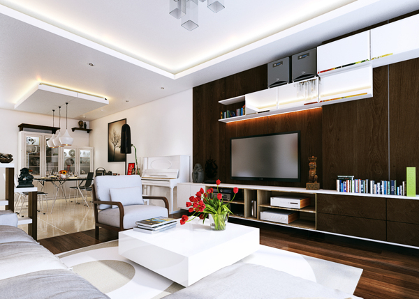 A built-in media center offers ample storage and display options in this modern living room. The contrast between the dark wall and floors and white furnishings offers a nice balance.