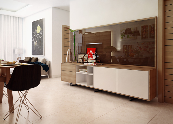 A low-profile modern buffet sets opposite the dining table providing much needed storage and display surfaces.