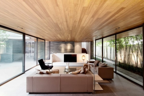 The light wood plank ceiling adds interest amongst the other neutral low key elements of