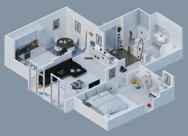 apartment layout 2 600x433 - Interior Design Apartment With Rendered 3D Floor Plans