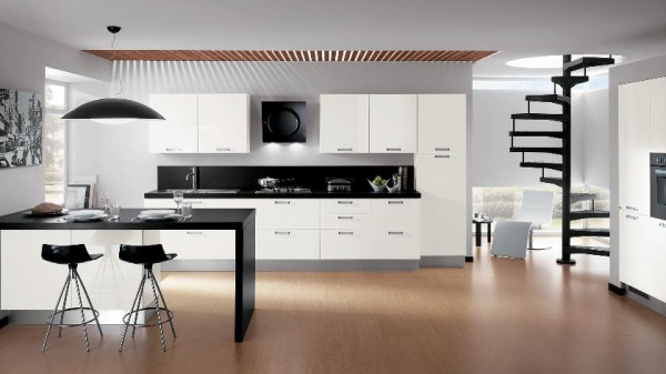black accent color kitchen