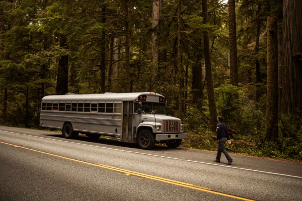 Hank used a standard school bus that he painted a neutral gray.