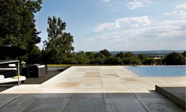 concrete patio and seating area