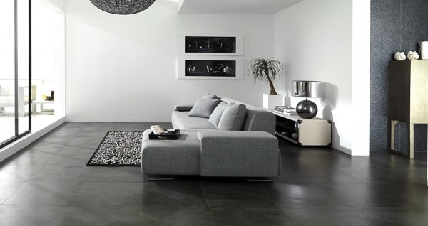 These Dark Stone Tile Floors Create Contrast With The Bright White Walls And Gray Furnishings