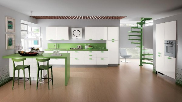 green accent color kitchen