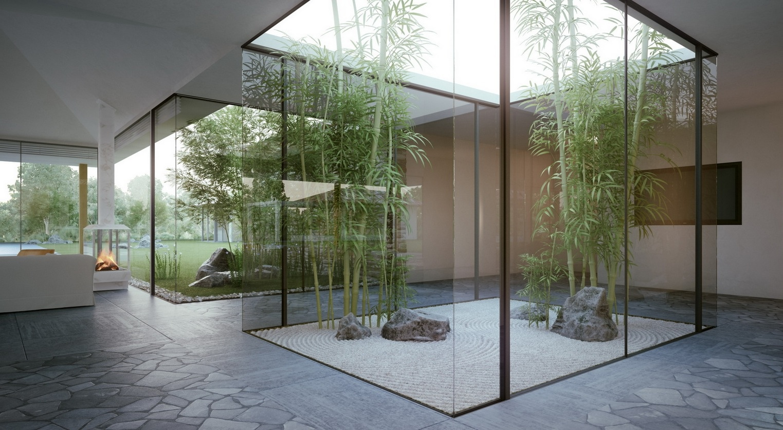 Japanese Garden Home with Courtyard 1523 x 837