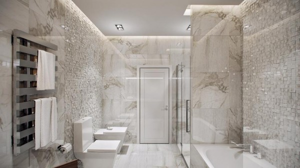 The bathroom continues the concept of grand space with a full shower and separate bathtub, double sink vanity, and even recessed cabinets hiding the washer and dryer. The marble and tile work are beautiful and make it a luxurious atmosphere.