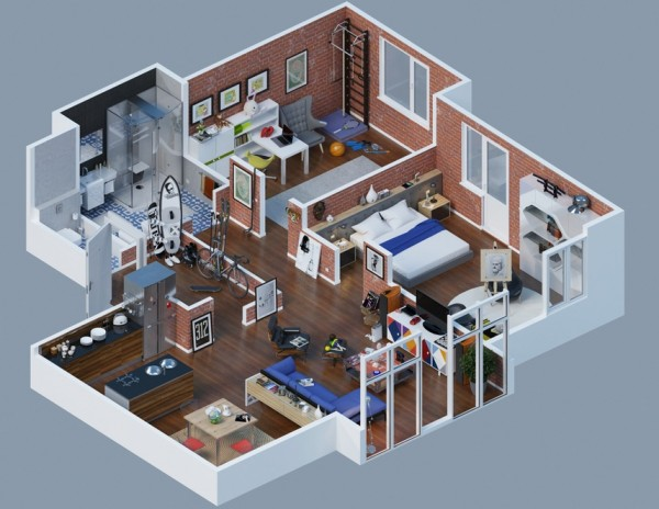 large apartment layout brick interior 13 600x464 - Interior Design Apartment With Rendered 3D Floor Plans