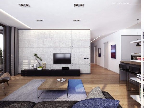 linear design living space