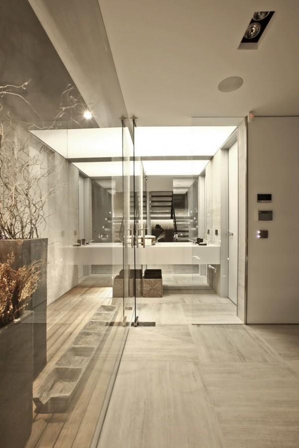 mirror and glass bathroom