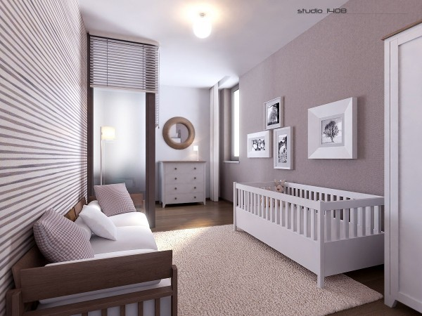 This modern style can be carried throughout the home as shown here with this nursery design. The space is well lit and bright with a neutral color palette to suit either gender.