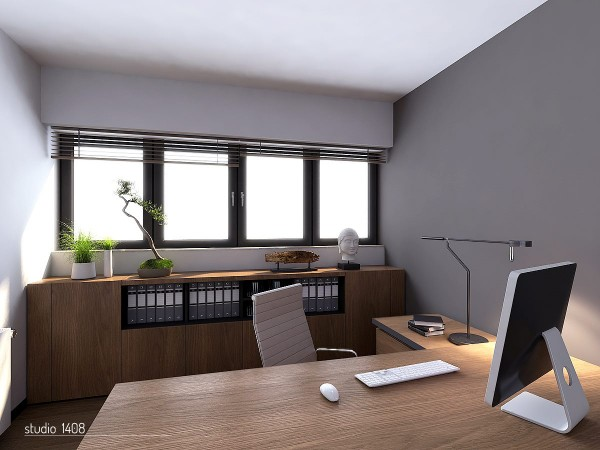 This neat and tidy office space is bright and open with a wall of windows in the rear and has decorative elements, such as the bonsai tree, paying tribute to Japanese interior design which minimalism was born from.