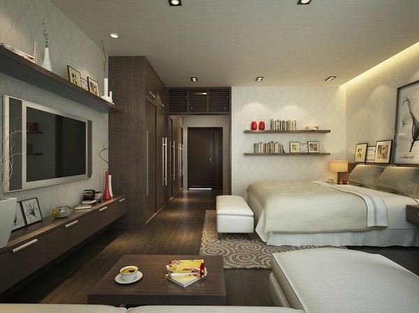 Linear view of the textured bedroom shows how the room connects well with the hallway and entrance.