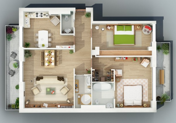 overhead shot 21 600x420 - Interior Design Apartment With Rendered 3D Floor Plans
