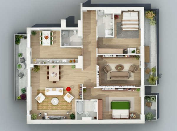 overheard large apartment layout 19 600x444 - Interior Design Apartment With Rendered 3D Floor Plans