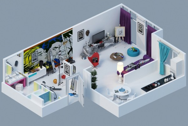 pop art apartment layout 4 600x404 - Interior Design Apartment With Rendered 3D Floor Plans