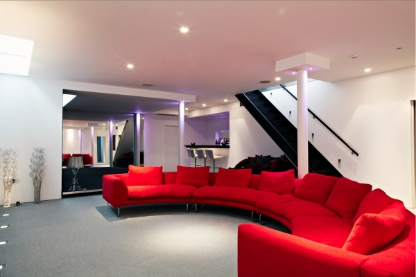 cinema room red couch