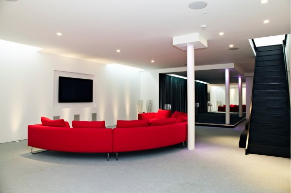 red couch recreational room