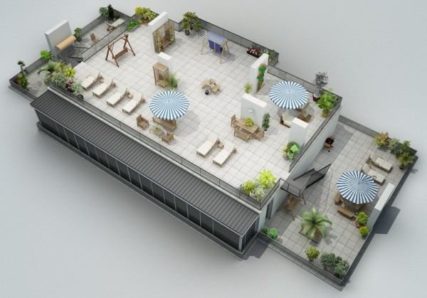 rooftop patio 23 600x419 - Interior Design Apartment With Rendered 3D Floor Plans