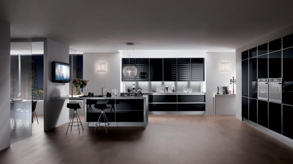 sleek black contemporary kitchen