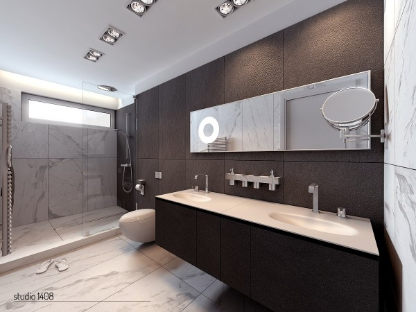 The linear design is carried into the bathrooms of these gorgeous homes. Everything is very clean-cut and the marble adds a luxurious touch without going over the top.