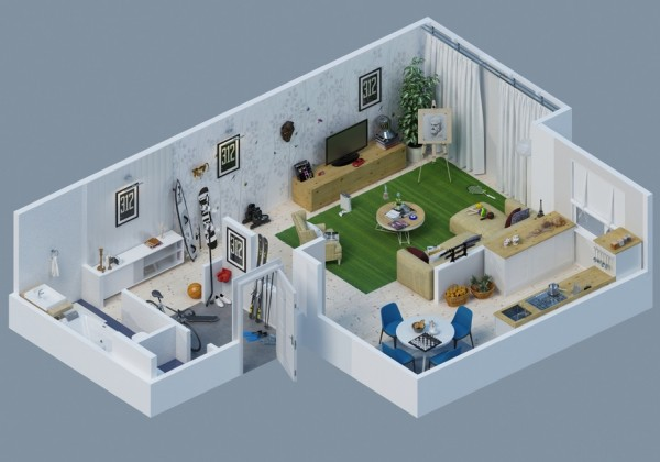 sports apartment theme layout 6 600x420 - Interior Design Apartment With Rendered 3D Floor Plans