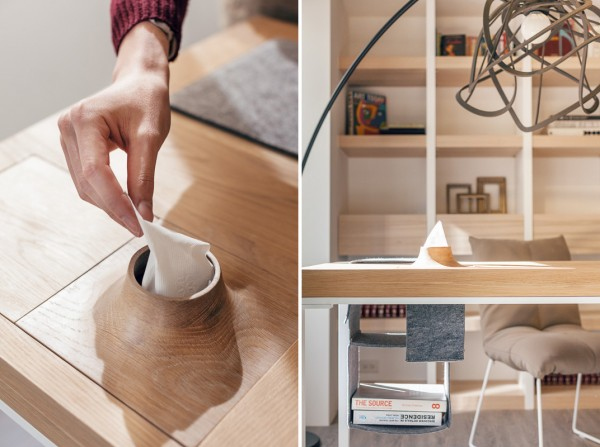 The table desk design is impressive with hidden storage areas that can be used to provide extra shelves and a place to keep tissues without having a bulky box sitting on top. It keeps the desk top clean and clutter free which again only helps to make the space appear bigger than what it really is.