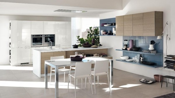 tri color kitchen cabinets and shelves