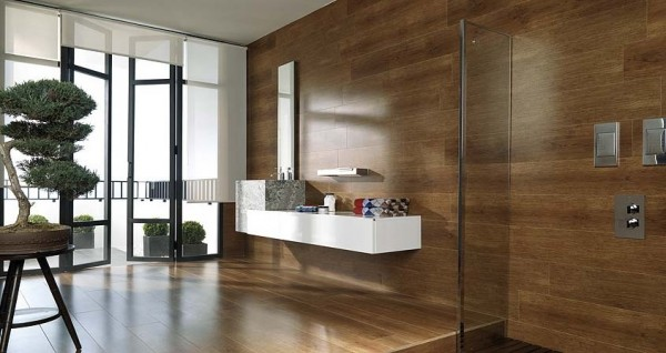 Another bathroom using wood instead of stone tiles which adds a zen feel to this space.