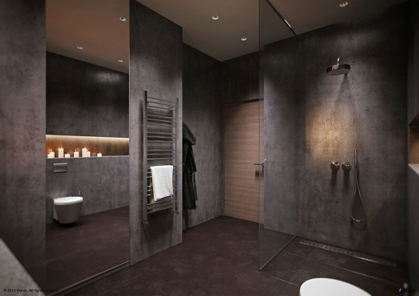 The bathroom is another area where style sometimes has to be compromised for practicality, but Viarde has made sure this room also melds with the overall themes of the apartment. From its dark grey walls to the candlelight that softens the otherwise industrial feel, it could be a pleasant retreat.