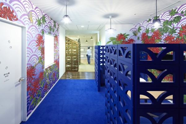 16 blue cubicle walls flower wallpaper