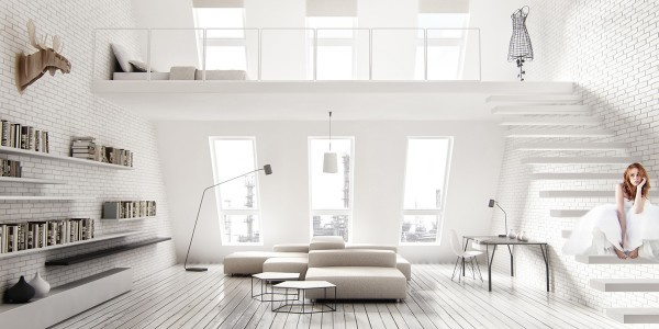 While the more accident prone among us may hesitate to live somewhere with so many white surfaces, for those that can manage it, it can be truly serene. Here we do not see a massive shelving unit, rather in keeping with the minimalist style of the space, a few shelves float on the wall.