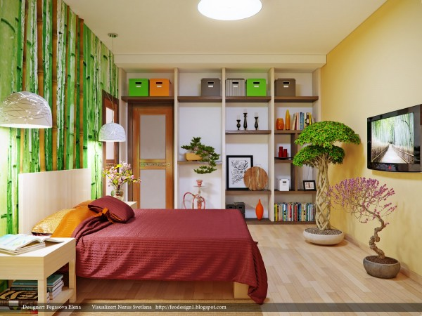 The bamboo wall treatment in this small bedroom adds a splash of color without detracting from the overall natural feel of the room - taken from the hardwood floors and bonsai elements.