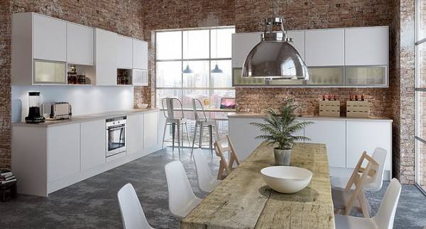 The exposed brick walls in this kitchen give it a decidedly industrial and unfinished feeling. However, the elements of the kitchen itself are clean and polished, from the gleaming stainless steel light fixture to the modern white chairs. The dining table is perfect for large meals and entertaining while the small bar overlooking the city makes for a cozy breakfast nook.
