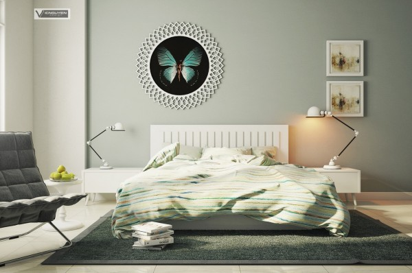 There is no avoiding the natural inspiration for this green and white bedroom. Different shades of green thread their way through duvet, curtains, walls, and floors. White windows open inward to let in light and breeze but can close tightly and be curtained off for any necessary sleeping in. `