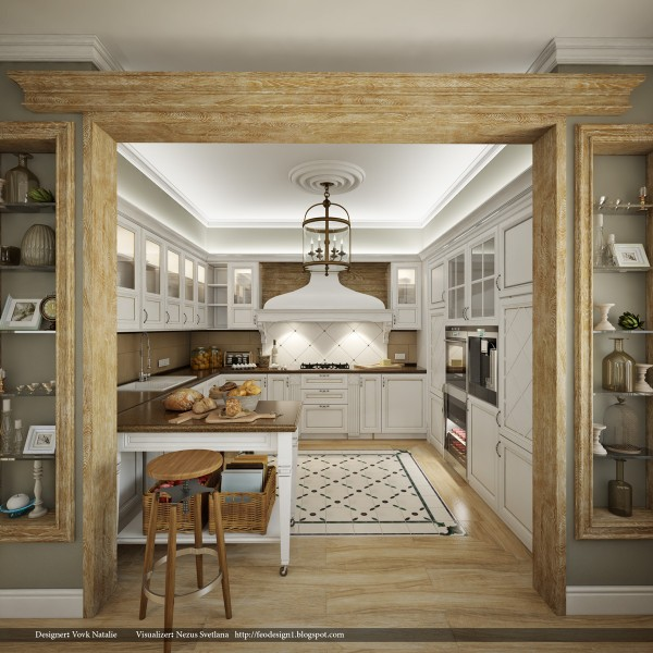 With a bit more space to work with, this country chic look uses tile and wood elements along with wonderful lighting and a portable island to create any home chef's dream kitchen.