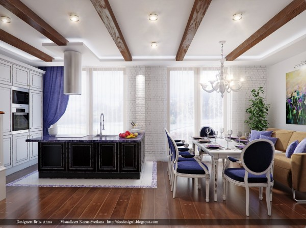 This elegant dining room packs many uses into another small space. By using the sofa as the fourth side of the table, more guests can be welcomed while still having a comfortable place to sit when no one is around. The deep purple dining chairs are modern while still calling to mind classic French styles.